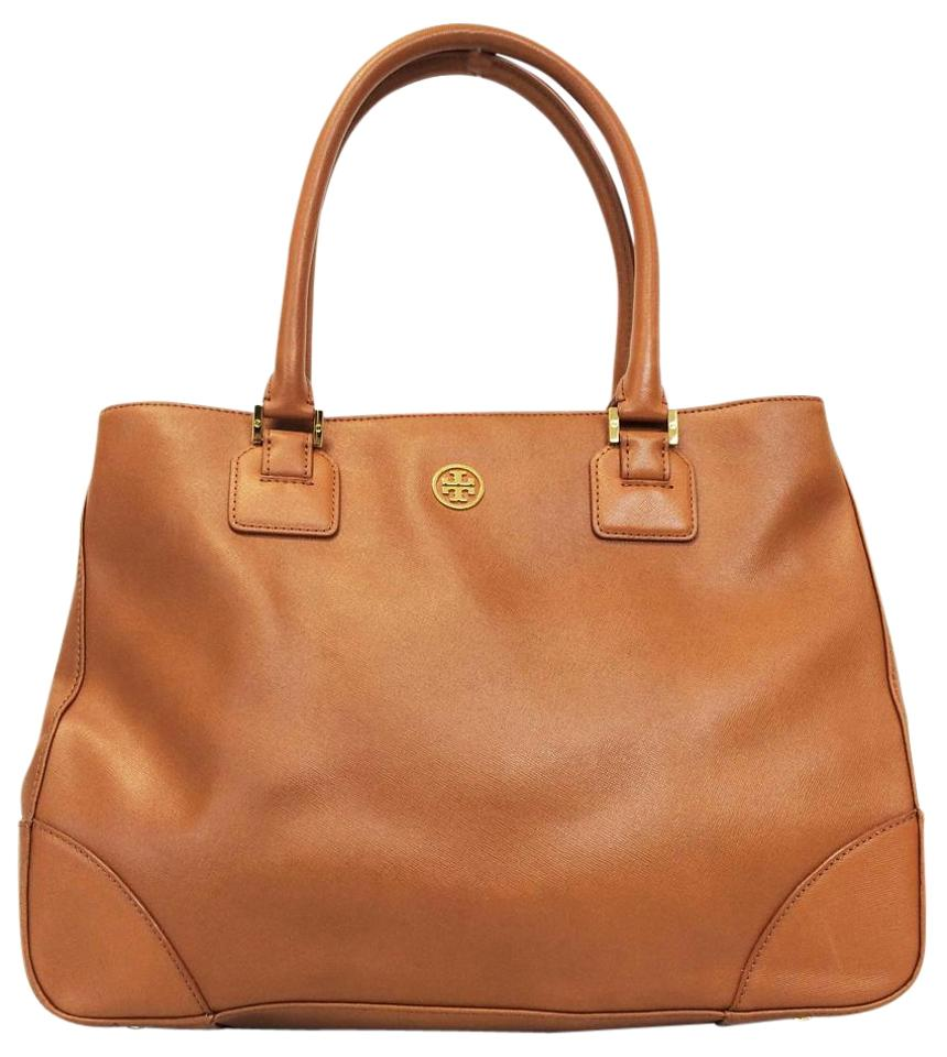 ff40f0d2369 Tory Burch Saffiano Leather Double Zip Robinson Tote in Luggage Brown Image  0 ...