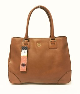 Tory Burch Saffiano Leather Double Zip Robinson Tote in Luggage Brown