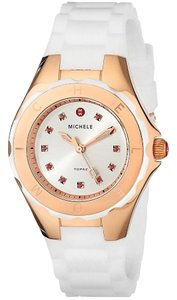 Michele Michele MWW12P000003 Women's Petite Jelly Bean Topaz Crystals Rose Gold Plated White Silicon Watch NEW! $345