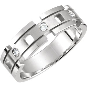 White Gold | Diamond Luxury Designer 14kt 7mm 1/6 Ctw Fashion Ring Men's Wedding Band