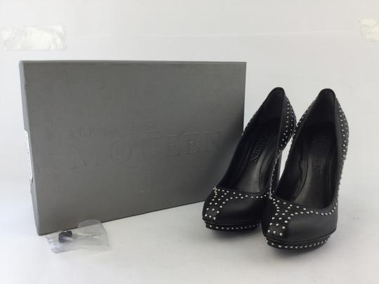 Alexander McQueen Studded Leather Ribbed Black Pumps