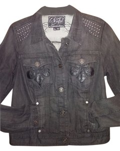 Sinful by Affliction Studded Black Womens Jean Jacket