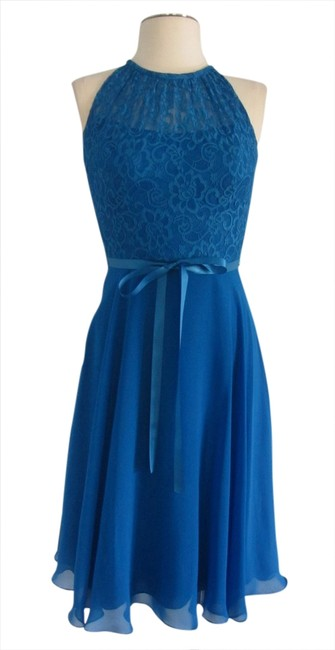 Item - Blue Lace Homecoming Prom Cocktail Mid-length Formal Dress Size 2 (XS)