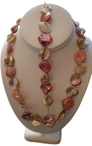 Carved Mother Of Pearl Abalone Shell Necklace with Matching Bracelet