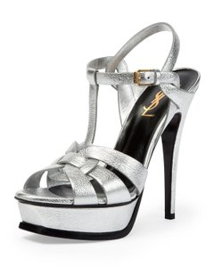 Saint Laurent Ysl Tribute SILVER METALLIC LEATHER Platforms