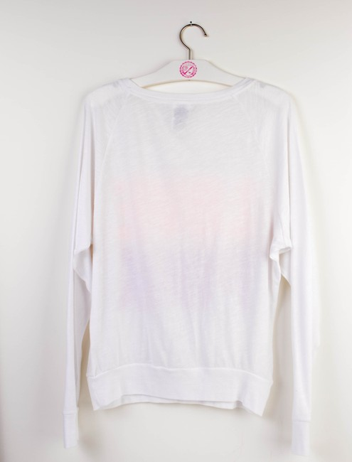 PINK Sequin Limited Edition Bling Raglan Longsleeve T Shirt White