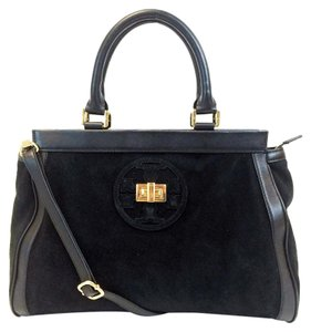 Tory Burch Suede Leather Satchel in Black