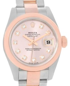 Rolex Rolex Datejust Ladies Steel Rose Gold Diamond Watch 179161 Box Papers