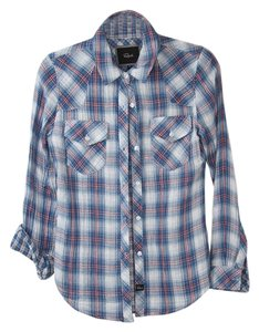 Rails Plaid Shirt Button Down Shirt Light blue and red