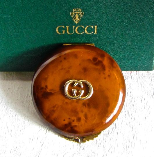 Gucci Gucci Authentic 1940's Vintage Amber Enamel Mirror/Powder Compact- Unused!