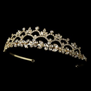 Romantic Floral Rhinestone Curling Gold Wedding Bridal Tiara