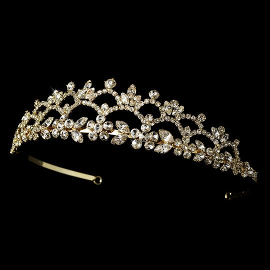 Gold Romantic Floral Rhinestone Curling Tiara