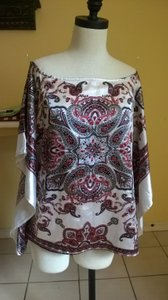 Feathers Top White with Red & Black design
