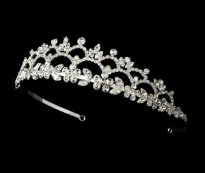 Romantic Floral Rhinestone Curling Wedding Bridal Tiara