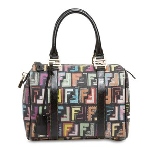 Fendi Boston Zucca Canvas Medium Shoulder Bag