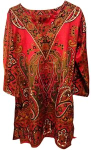 Kushi of India short dress RED MULTICOLOR CAFTAN Made In on Tradesy