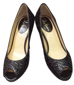 Cole Haan Leather Woven Black Pumps