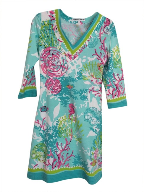 Item - Teal Multi Above Knee Short Casual Dress Size 4 (S)