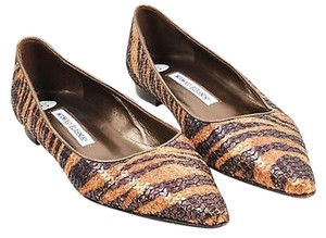 Manolo Blahnik Sequin Bronze and Brown Flats