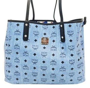 MCM Shopper Project Tote in Denim Blue