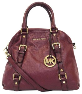 63fbf37a07b3a Michael Kors Bedford Leather Bowling Convertible Satchel in Bordeaux Red