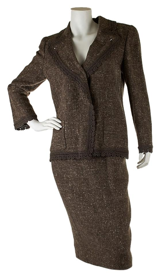 Valentino Grey Women S Brown Wool 27895 Skirt Suit Size 10 M