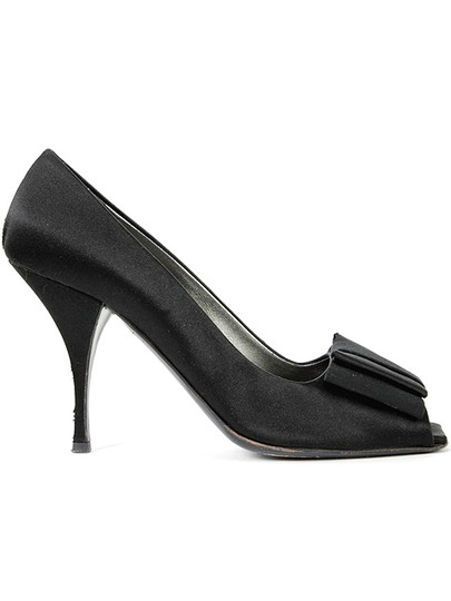 Prada Satin Bow Peep Toe Evening Party Black Pumps