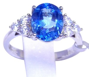 Stunning Oval shape Starburst cut Blue topaz Ring 6.5 CT Natural Stone Sterling Silver