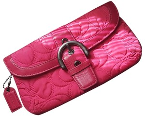 Coach Nylon Belted Hot Pink Clutch