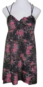 Roxy short dress Black & Pink Floral Summer Polyester on Tradesy