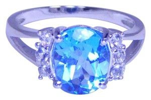 Stunning Oval shape Starburst cut Blue topaz Ring 6.5 CT Natural Stone in Shank/Split-Shank Sterling Silver