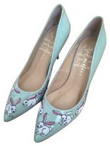 Minna Parikka Patent Leather Embroidered Mint Pumps