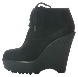 Burberry Suede Bootie Wedge Black Wedges