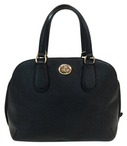 Coach Prince Street Crossgrain Leather Satchel in Black