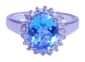 Appealing Oval Blue topaz Ring 6.5 CT Natural Stone Sterling Silver
