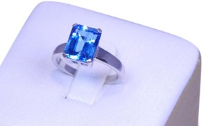 9.2.5 Gorgeous Emerald cut Blue topaz Ring 4CT Natural Sterling Silver