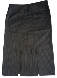 Candie's Midi Bow Sexy Skirt Grey pinstriped
