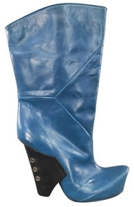 Marc Jacobs 2009 Runway Curved Heel Blue Boots