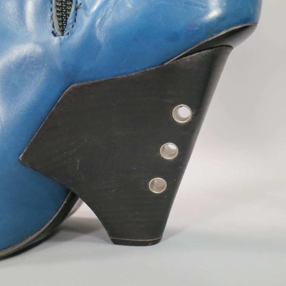 Curved Jacobs Marc Leather Toe Blue Bootsbooties Fall 2009 Runway dXdBFxv