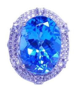 Classy Oval shape mm Starburst cut Blue topaz Ring 18 CT Natural Precious Stone in Shank/Split-Shank Sterling Silver