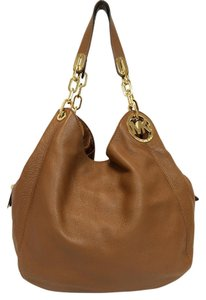Michael Kors Fulton Large Pebbled Leather Brown Tote in Luggage Brown
