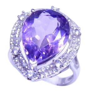 Lovely Pear shape mm Starburst cut Amethyst Ring 18 CT Natural Precious Stone in Shank/Split-Shank Sterling Silver