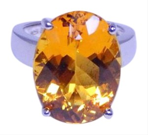 9.2.5 Attractive Oval shape Citrine Ring 4CT Natural Stone Sterling Silver