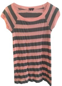 Theory Stripe Cap Sleeve Grey T Shirt Pink and Gray