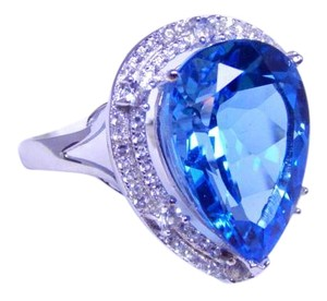 Classy Pear shape mm Starburst cut Blue Topaz Ring 18 CT Natural Precious Stone in Shank/Split-Shank Sterling Silver