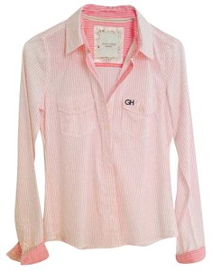Gilly Hicks Shirt Striped Pink Button Down Shirt