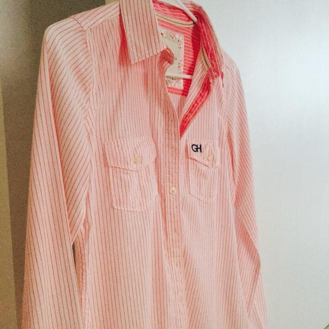 Gilly Hicks Shirt Button Down Shirt pink stripe