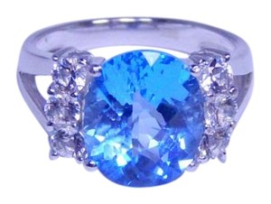 Other Appealing Oval shape Starburst cut Blue topaz Ring 6.5 CT Natural Precious Stone in Shank/Split-Shank Sterling Silver