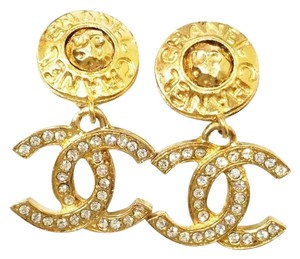 Chanel Authentic Vintage Chanel 18K Gold Plated Rhinestone CC Clip on Earrings