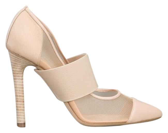 Item - Nude Box Mesh Panel Elastic Pointed Toe Leather Heels 39.5 Italy Pumps Size US 9.5 Regular (M, B)